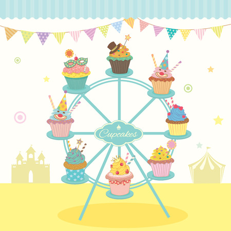 cheese cake: Vector fantasy cupcakes decoration on the ferris wheel with bunting in party fest.Pastel colorful and cute style for bakery cafe shop.Green blue awning.