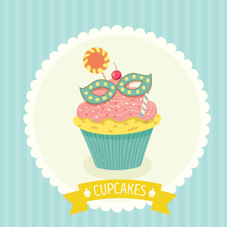 cheese cake: Vector fantasy cupcake on blue background with yellow ribbon for party invitation or greeting card.Bakery menu cake cafe.Cute style. Illustration