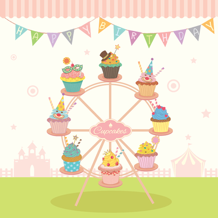 cafe shop: Vector fantasy cupcakes decoration on the ferris wheel with bunting for birthday party fest.Pastel of colorful and cute style for bakery cafe shop.