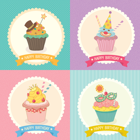 cheese cake: Vector of collection of fantasy cupcake  background with ribbon for birthday party invitation or greeting card.Bakery menu cake cafe.Cute style. Illustration