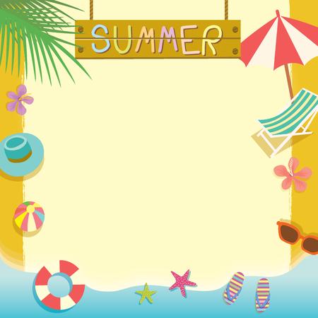 夏ビーチ休日の概念ベクトル テンプレート。メモ帳、メモ、あなたのテキストのためのスペースのポスターかわいいデザイン メッセージ。
