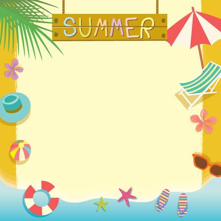 Summer beach holiday concept vector template.Notepad, memo,poster cute design with space for your text,message.