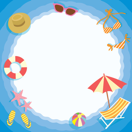 breeze: Summer breeze element objects with circle space for note message on the beach concept in blue circle wave background.Paper design for memo,notepad template,greeting card. Illustration