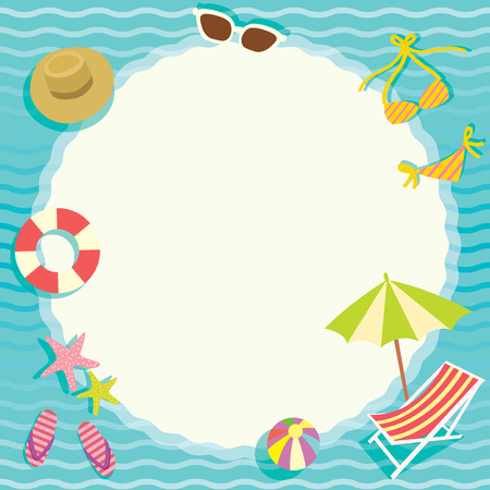 Summer breeze element objects with circle space for note message on the beach concept in blue wave background.Paper design for memo,notepad template,greeting card.