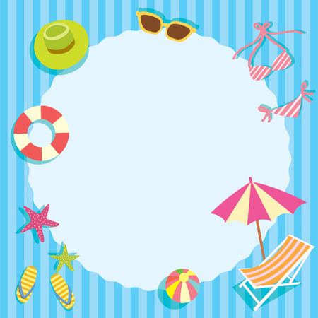 breeze: Summer breeze element objects with circle space for note message on the beach concept in blue stripe background.Paper design for memo,notepad template,greeting card.