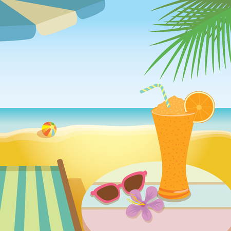 deck chair: Illustration of summer drink  banner.Orange juice smoothie put on the table with shoe flower and sunglasses ,deck chair,umbrella,palm on the shore sea, beach background. Illustration