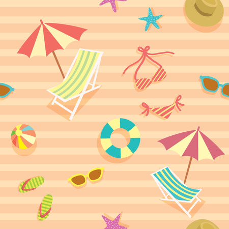 gift wrapping: Vector of summer objects decoration into seamless pattern.Wallpaper,gift wrapping,fabric pattern background in pink orange.