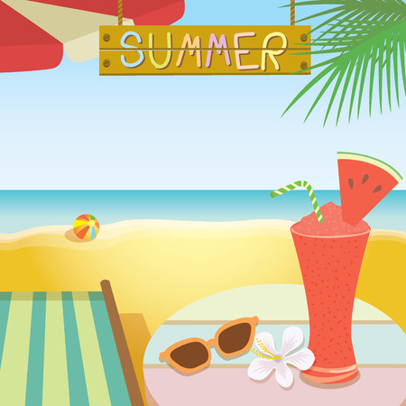 deck chair: Illustration of summer drink  template.Watermelon juice smoothie put on the table with shoe flower and sunglasses ,deck chair,umbrella,palm on the shore sea, beach background,wood sign