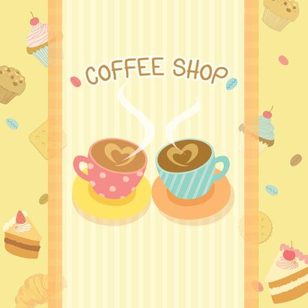 beige background: Coffee shop illustration design in beige background colors.