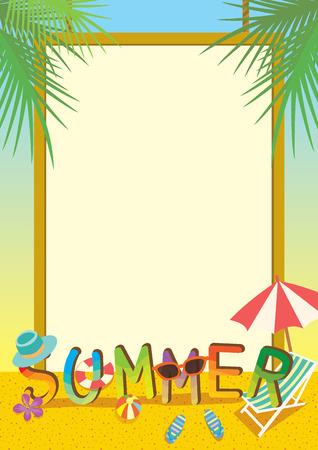 ボーダーとビーチの背景を持つ夏イラスト テンプレート カラフルなデザイン。