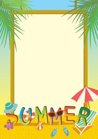Summer illustration template colorful design with border and beach background.