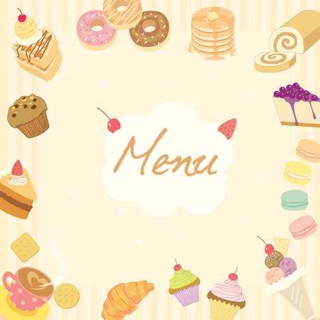 swiss roll: Vector illustration for dessert menu or recipe on the pale brown background surrounded by various sweeties cakes, coffee cups, and bakeries which is suitable for coffee shop poster.
