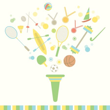 sports equipment: Sport vector graphic of torch with various sports equipment, rackets, balls, swords, and etc.