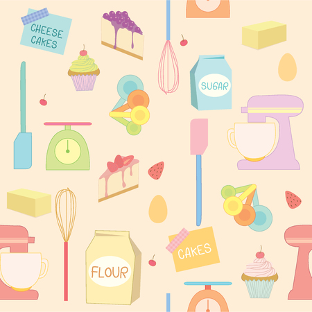 measuring spoon: Bakery and pastry element tools decoration into seamless pattern.Illustration vector design background.