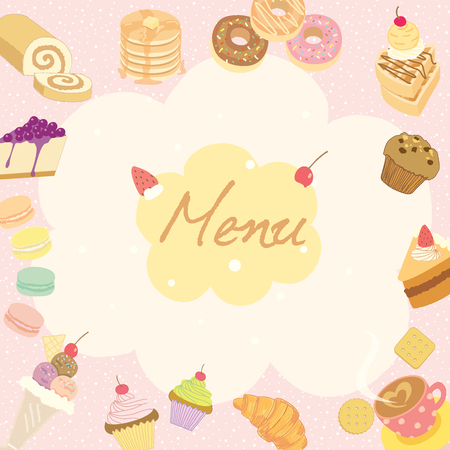 swiss roll: Vector illustration for dessert menu or recipe on the pale pink background surrounded by various sweeties cakes, coffee cups, and bakeries which is suitable for coffee shop poster.