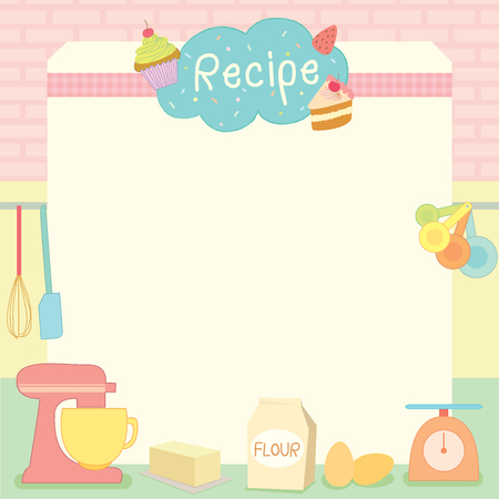 Decorated vector template for display of the bakery recipe surrounded by various graphic of bakery and pastry tools Illustration