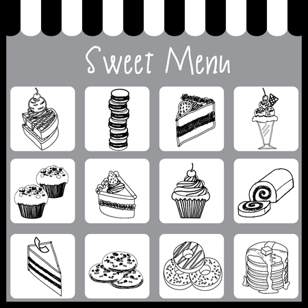 swiss roll: Illustration vector of sweet menu on drawing style with black and white monochrome colors.