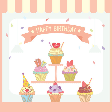 Illustration Vector Of Cupcakes Menu Design For Birthday Card