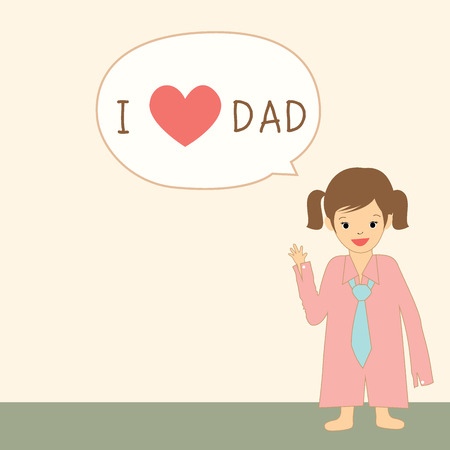 gray strip: Vector illustration graphic template for Father day greeting of the cute little girl saying i love dad on plain pink background and the gray strip