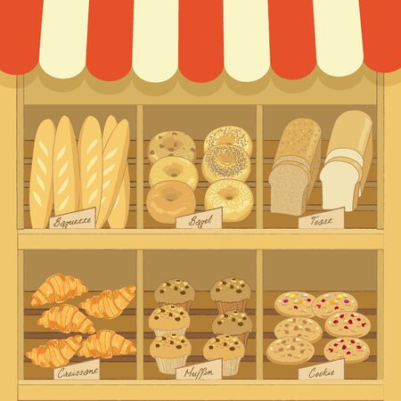 awnings: Illustration vector of bakery products on wood shelf in cafe shop.Pastel tone color and retro style.