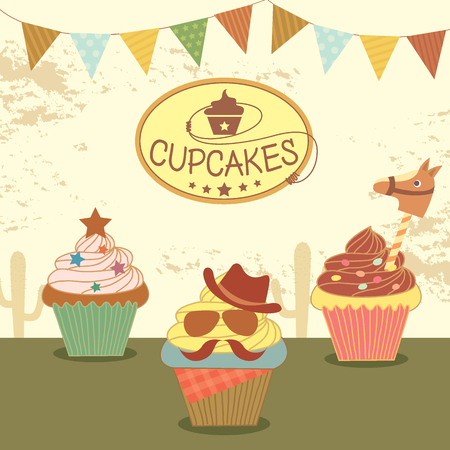 fancy pastry: Illustration vector of cupcakes with cowboy theme concept party.