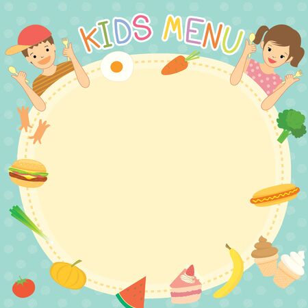 Illustration Vector Kids Menu Meal Template Design With Boy And ...