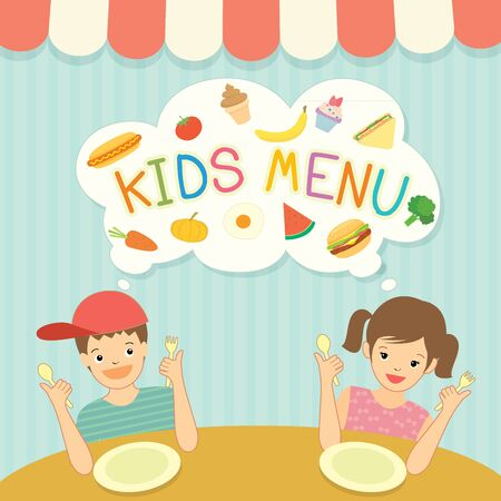 Boy and girl was eating for kids menu template board decoration with ingredient food meal and dessert. .Illustration vector cute cartoon. 矢量图像