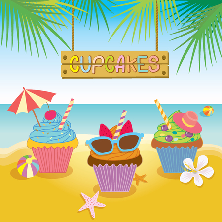 sunglasses cartoon: Illustration vector of fantasy cupcakes for summer concept theme of party.Beach background and colorful.