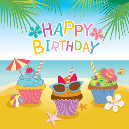 Illustration vector of fantasy cupcakes for summer concept theme of party for birthday card.Beach background and colorful.