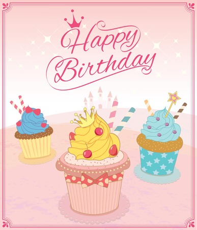 awnings: Illustration vector of cupcakes in princess theme concept for happy birthday card.Pink background color.