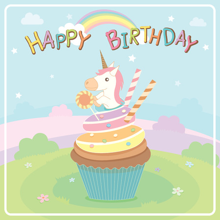fancy pastry: Illustration vector of unicorn cupcakes on cute concept design in fairy background for happy birthday card.