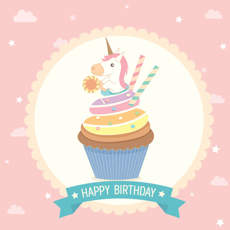 cheese cake: Illustration unicorn cupcake on blue background with pink  ribbon for party invitation greeting or happy birthday card