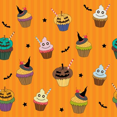 scarp: Halloween cupcakes design into seamless pattern on stripe orange colors background Illustration