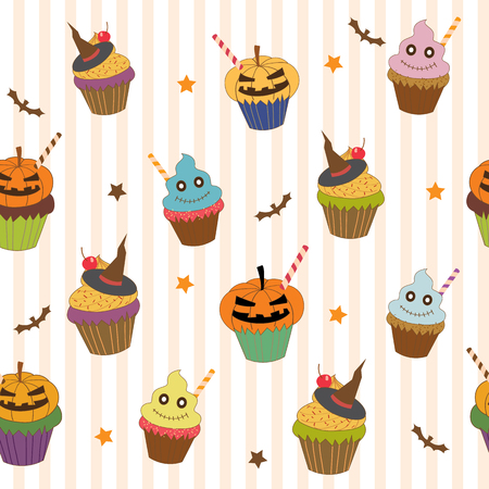 scarp: Halloween cupcakes design into seamless pattern on stripe white colors background.