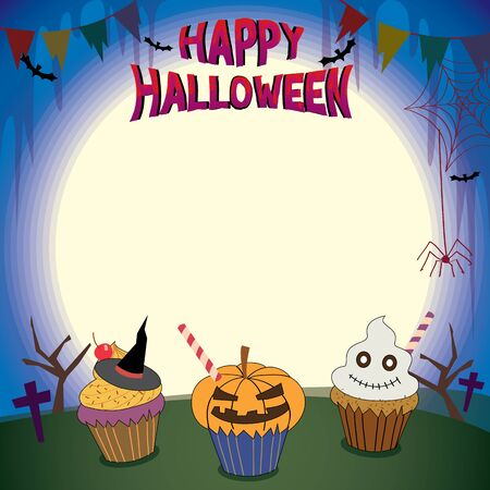 holiday invitation: Illustrator of Halloween cupcakes in holiday parties template for invitation