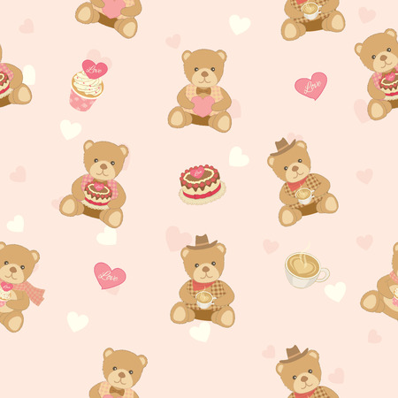 endearing: Illustration of lover bear with cakes and coffee decoration into seamless pattern background.Pastel color for bakery cafe  shop.