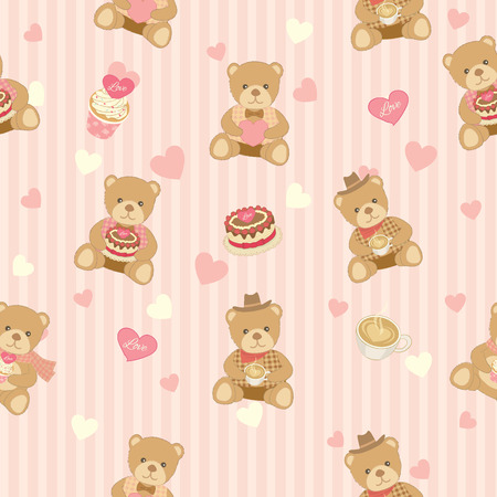endearing: Illustration of lover bear with cakes and coffee decoration into seamless pattern background.Pastel color for bakery cafe  shop.Stripe background.