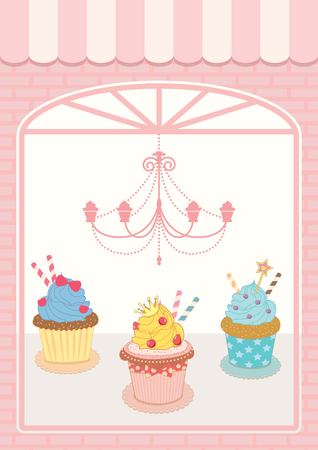 chandelier  kids: Illustration decoration showcase cupcakes cafe shop with luxury and vintage style.Pastel pink colors background. Illustration