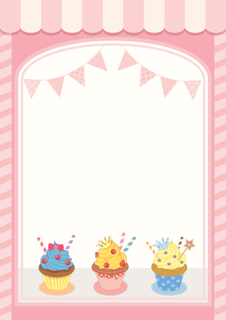 Illustration decoration showcase cupcakes cafe shop with luxury and vintage style.Pastel pink colors background.Blank for your text or message.