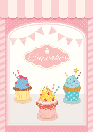 chandelier  kids: Illustration  decoration showcase cupcakes cafe shop with vintage style for menu template.Pastel pink colors background. Illustration