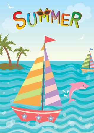pink dolphin: Illustration of cute sailboat with pink dolphin in nature ocean background for summer season.