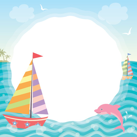 pink dolphin: Illustration of cute sailboat with pink dolphin in nature ocean background.Blank template for your text or message.