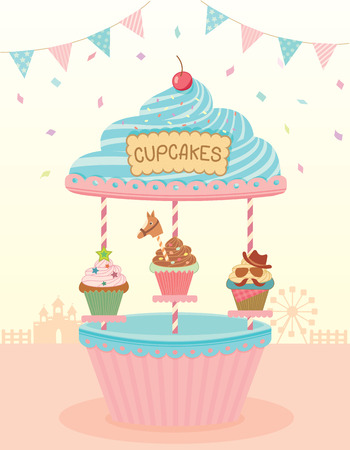 merry go round: Illustration of cupcakes merry go round booth in theme park festival party background. Illustration