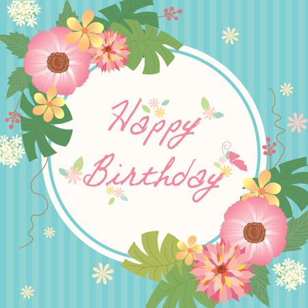 Flowers And Couple Birds Decoration With Happy Birthday For – Birthday Card Decoration