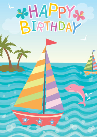 pink dolphin: Illustration of cute sailboat with pink dolphin in nature ocean background on summer season  for happy birthday card.