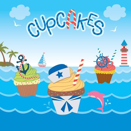 ahoy: Illustration sailor cupcakes concept design  in ocean background for bakery and cakes cafe.