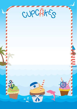 ahoy: Illustration sailor cupcakes concept design in ocean blue background graphic.Menu template for bakery and cakes cafe.Blank for your text or message.
