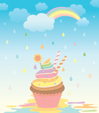 raining background: Illustration of cupcake in the creamy rain with rainbow on raining background.