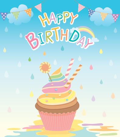 raining background: Illustration of cupcake in the creamy rain with rainbow on raining background for happy birthday card