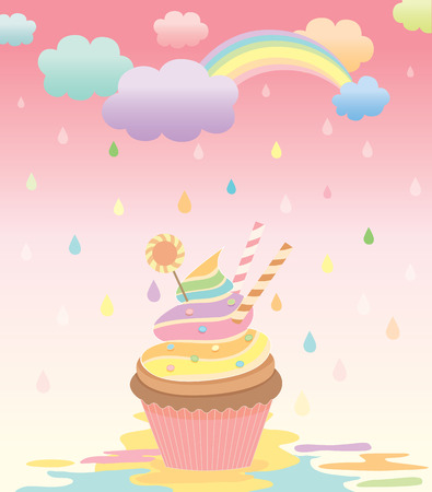 raining background: Illustration of cupcake in the creamy rain with rainbow on sky pink and raining background.